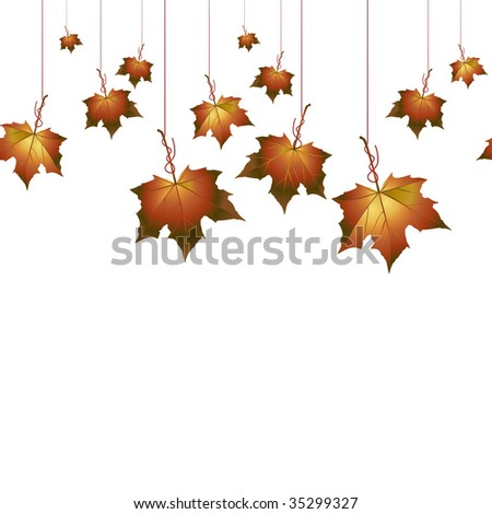 Autumn background with hanging leafs. Vector illustration.