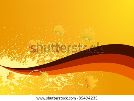 Autumn background with maple leaf - stock vector