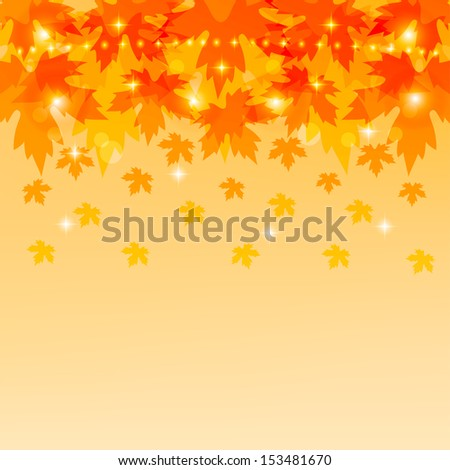 Autumn background with maple leaves. Autumnal backdrop with foliage. Vector illustration.  - stock vector