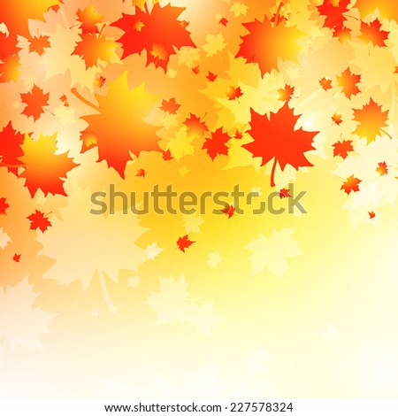 Autumn Background With Maple Leaves, Copyspace - stock vector