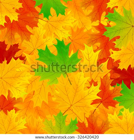 Autumn background with multicolored maple leaves, illustration. - stock vector