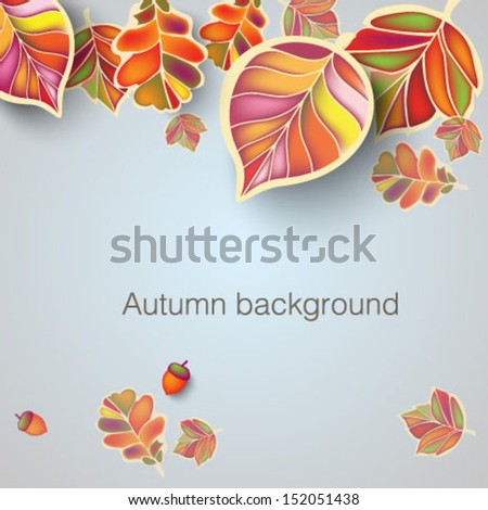 Autumn background with stylized leaves - stock vector