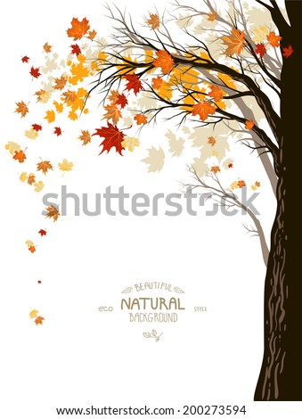 Autumn background with the silhouette of a tree trunk with falling leaves - stock vector
