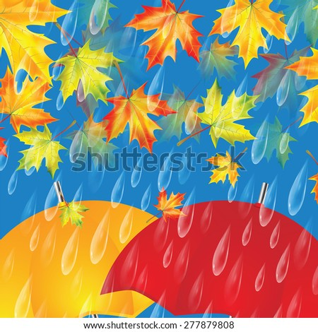 Autumn background with umbrellas, maple leaves and rain drops - stock vector