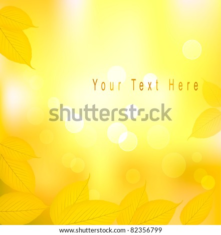 Autumn background with yellow leaves. Back to school. Vector illustration - stock vector