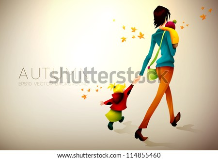 Autumn Background | Woman Waking Hurried With Her Children | Layered EPS10 Vector Illustration - stock vector
