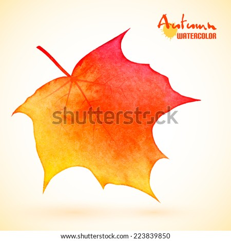 Autumn background, yellow maple leaf with watercolor texture, vector eps10 - stock vector