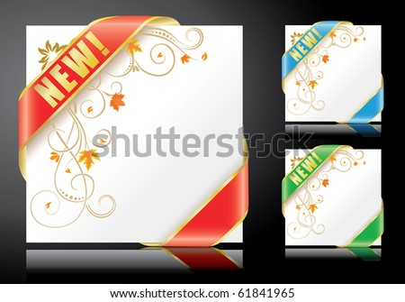 autumn backgrounds with ribbons - stock vector
