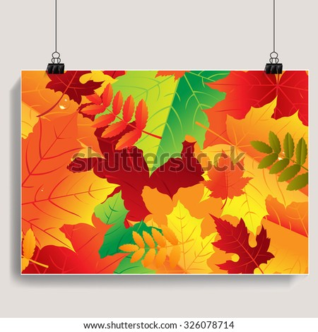 Autumn Banner With Gradient Mesh, Vector Illustration - stock vector