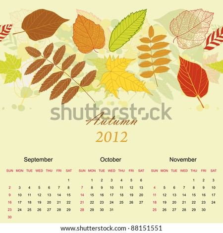 Autumn beauty seamless background with your text (vector version eps 8) - stock vector