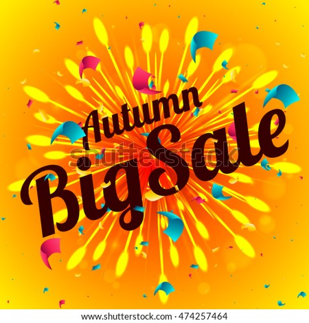 Autumn big sale banner. Curved red ribbon on bright background with firework and confetti explosion