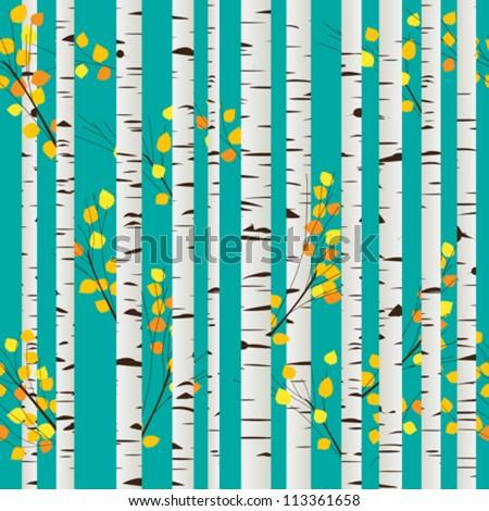 Autumn birch forest seamless pattern, graphic art - stock vector