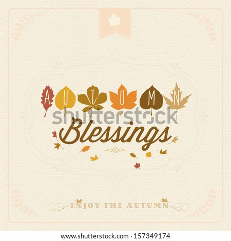 Autumn Blessings Vintage Typographical Background - stock vector