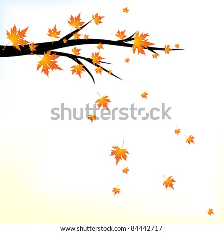 Autumn branch with falling leaves - stock vector