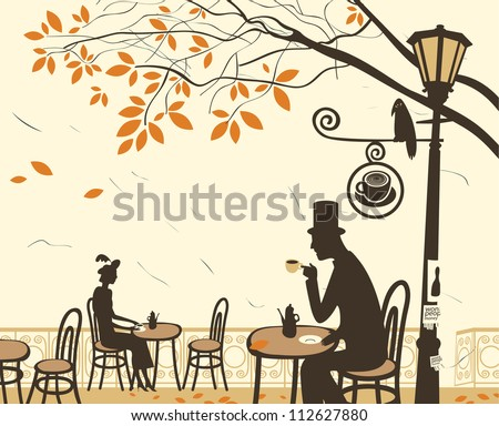 Autumn cafes and romantic relationship between man and woman - stock vector