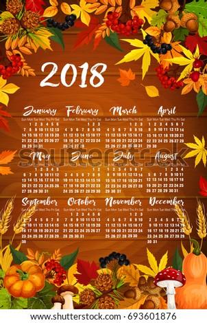 Autumn 2018 Calendar Template Poster Maple Stock Vector HD