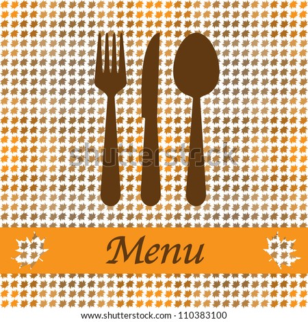 Autumn card for restaurant menu, with spoon, knife and fork vector illustration