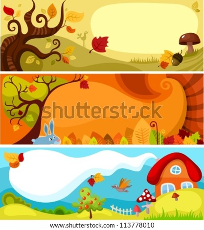 autumn card set - stock vector