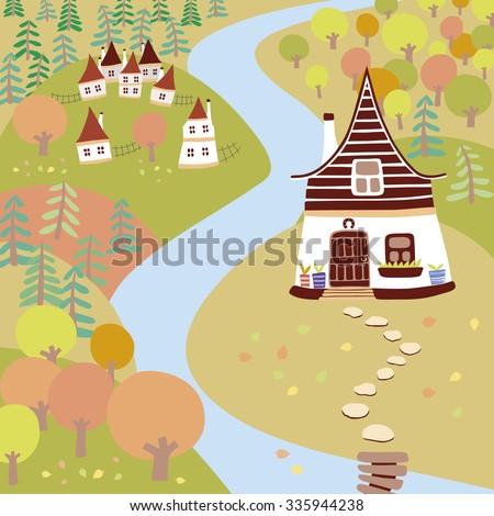 Autumn cartoon landscape. Vector - stock vector