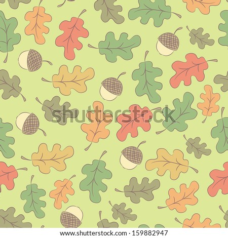 Autumn cartoon seamless pattern with acorns and oak leaves. Vector background