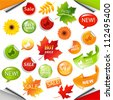 Autumn Collection Sale Elements With Leaves, Vector Illustration - stock vector