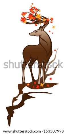 autumn deer with maple branches among horns - stock vector