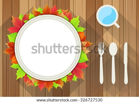 Autumn Dinner Plate with Knife, Fork, Spoon and a Cup. - stock vector