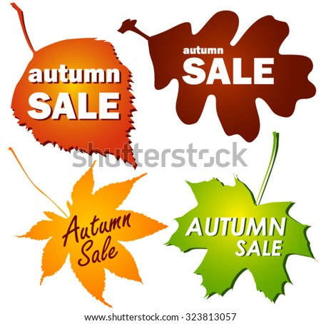 Autumn discounts sticker in the form of leaves