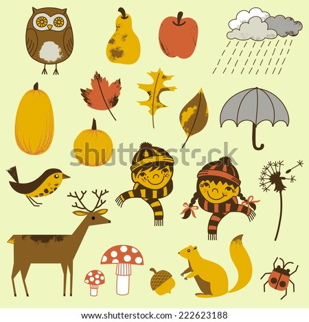 Autumn Elements Set - A collection of 20 hand-drawn Autumn elements.  Each element is grouped individually for easy editing.  Colors can be edited easily.  - stock vector