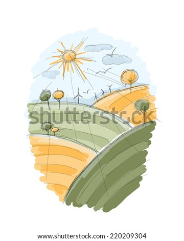Autumn field sketch for your design - stock vector