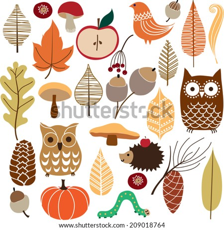 Autumn floral background. Vector set of autumn nature elements of hand drawn. - stock vector