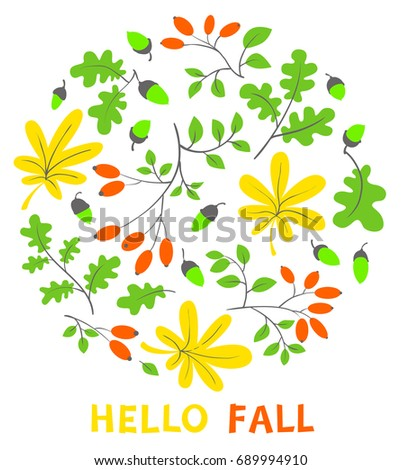 Autumn Floral Card. Fall Season Vector Illustration With Bright Leaves,  Acorns And Dogrose In