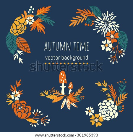 autumn flowers and fall. design elements - stock vector