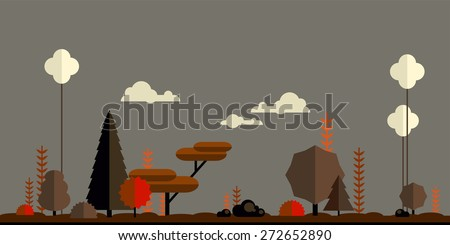 Autumn forest flat background. Simple and cute landscape for your design - stock vector