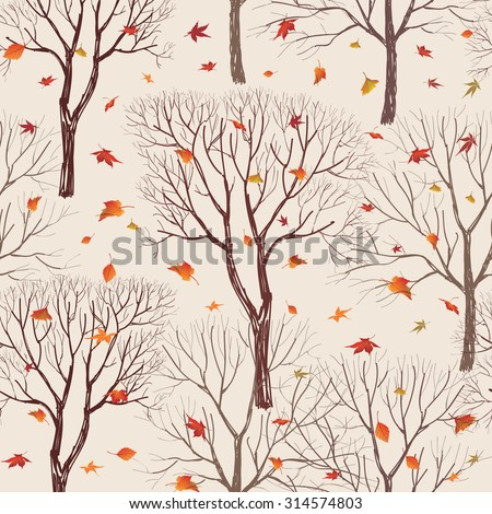 Autumn forest pattern. Fall leaves and trees seamless background. Vintage Christmas elements. Plant floral seamless pattern background. Editable vector texture.