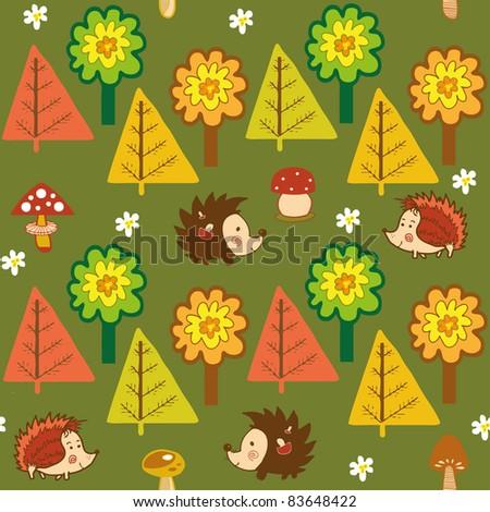autumn forest seamless pattern - stock vector