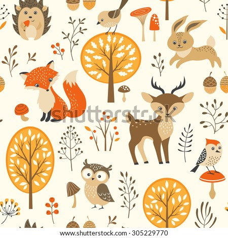 Autumn forest seamless pattern with cute animals - stock vector