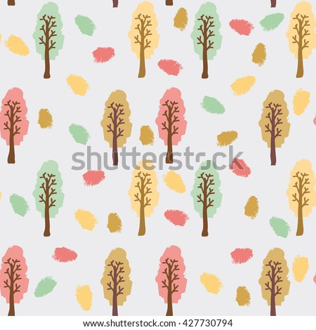 Autumn forest. Trees with colorful foliage standing among fallen colorful leaves. Vector illustration. - stock vector
