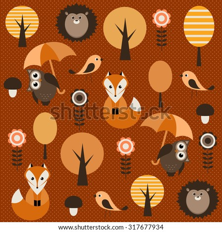 autumn forest with animals - stock vector