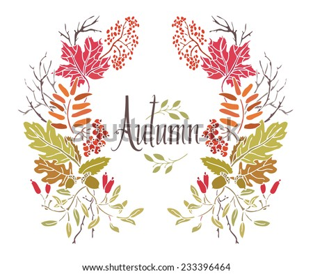 Autumn Frame of leaves and twigs - stock vector