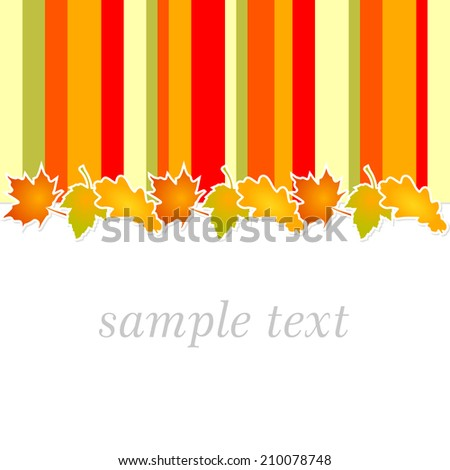 autumn full color background with stripes in autumnal colors - yellow, orange and green leaves line - stock vector
