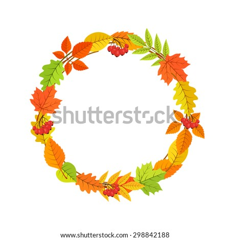 Autumn garland of bright fall leaves. Colorful vector frame. Design element isolated on white.  - stock vector
