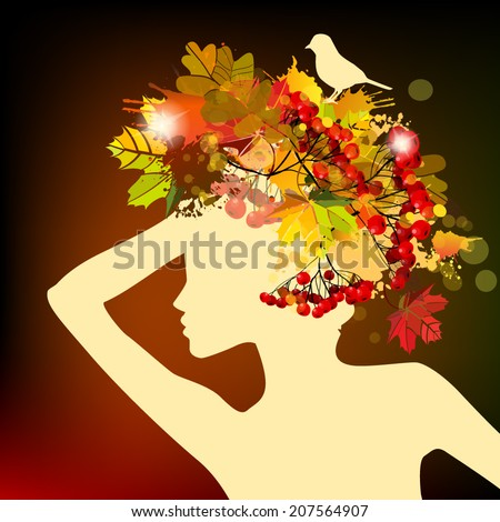 Autumn girl with leaves on head. Vector