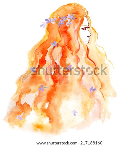 Autumn girl with red hair, watercolor vector - stock vector