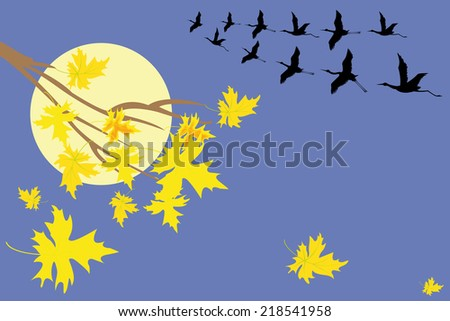 autumn gold  tree maple with crane and moon - stock vector