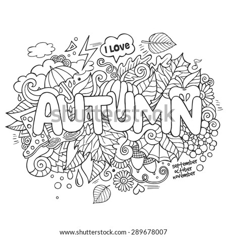 Autumn hand lettering and doodles elements background. Vector illustration