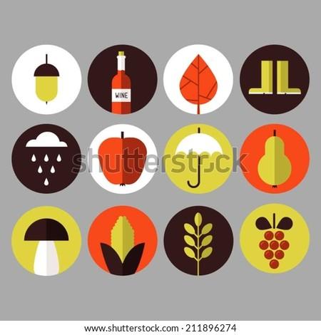 Autumn harvest icons - stock vector