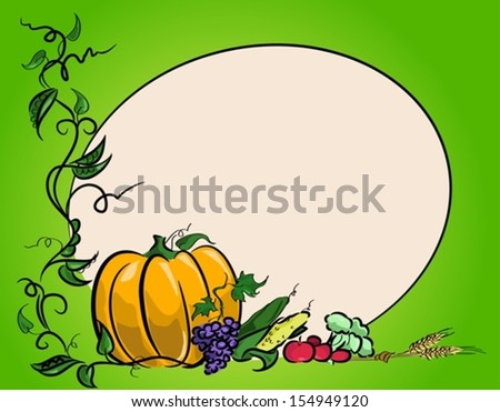 Autumn harvest of vegetables for day of Thanksgiving. Vector illustration - stock vector