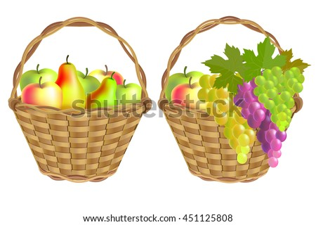 Autumn harvest. Wicker baskets of fruit: pears, apples and grapes. Isolated on white background.