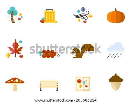 Autumn icons in flat colors style.  - stock vector